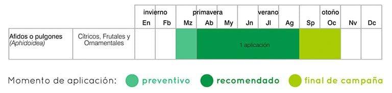 calendario tratamientos pulgón por endoterapia